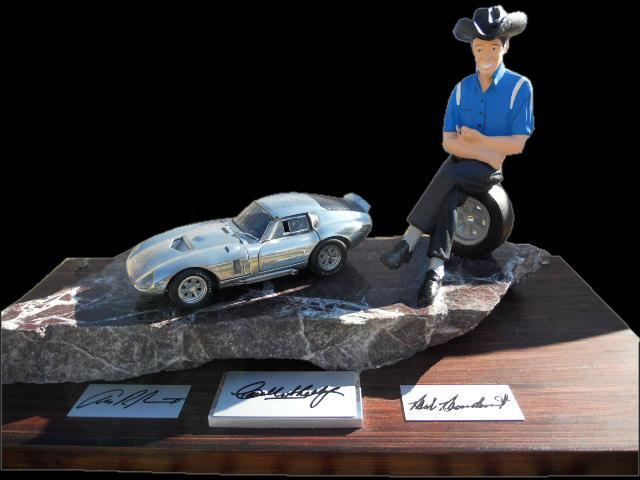 Phenomenal one of a kind likeness of Carroll Shelby with an Exoto Daytona Couple model and original signatures of Shelby, Bo... - Front 3/4 - 117133