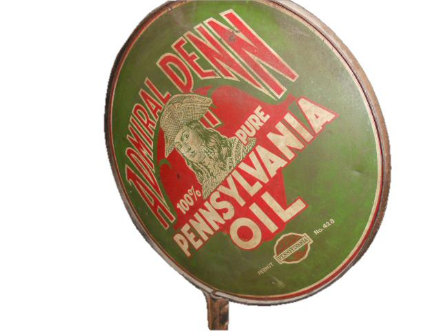 Rare 1920s Admiral Penn Motor Oil double-sided tin filling station sign with wonderful graphics. - Front 3/4 - 117134