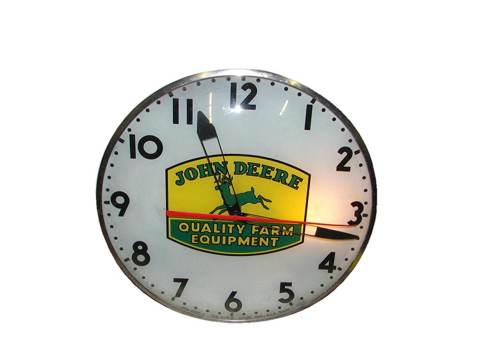 "Very impressive 1950s John Deere ""Quality Farm Equipment"" glass faced light-up dealership clock by Telechron. - Front 3/4 - 117860"