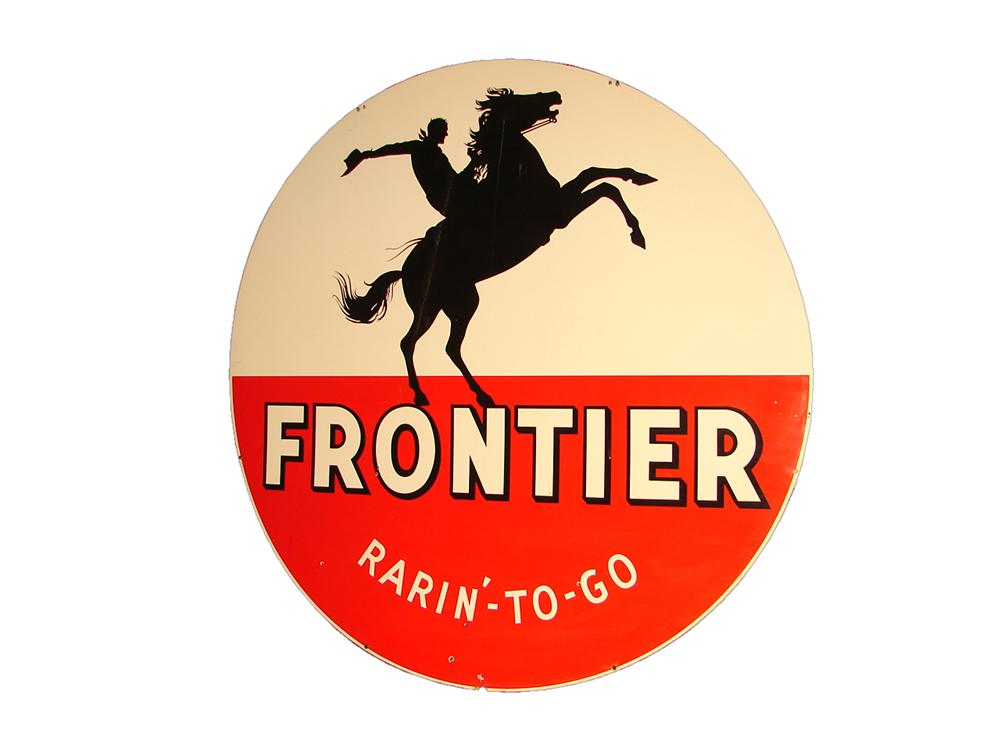 "Very desirable 1959 Frontier ""Rarin To Go"" Gasoline single-sided porcelain service station sign. - Front 3/4 - 117862"
