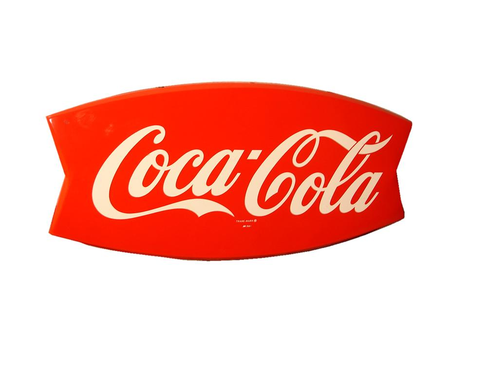 Awesome N.O.S. 1950s Coca-Cola die-cut fishtail sign. - Front 3/4 - 117866