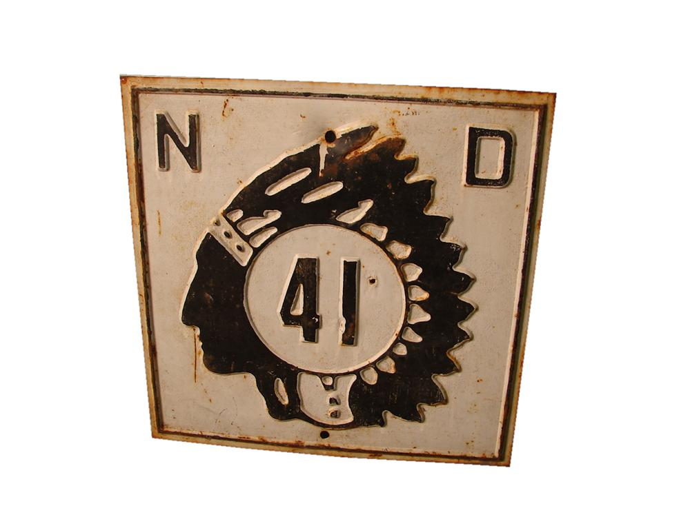 Stellar 1930s North Dakota Highway #41 road sign with embossed Chieftain logo. - Front 3/4 - 117867