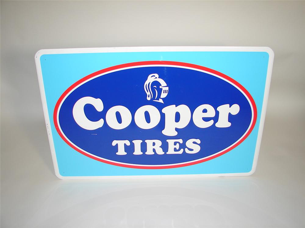 Large N.O.S. Cooper Tires single-sided embossed tin garage sign. - Front 3/4 - 117878