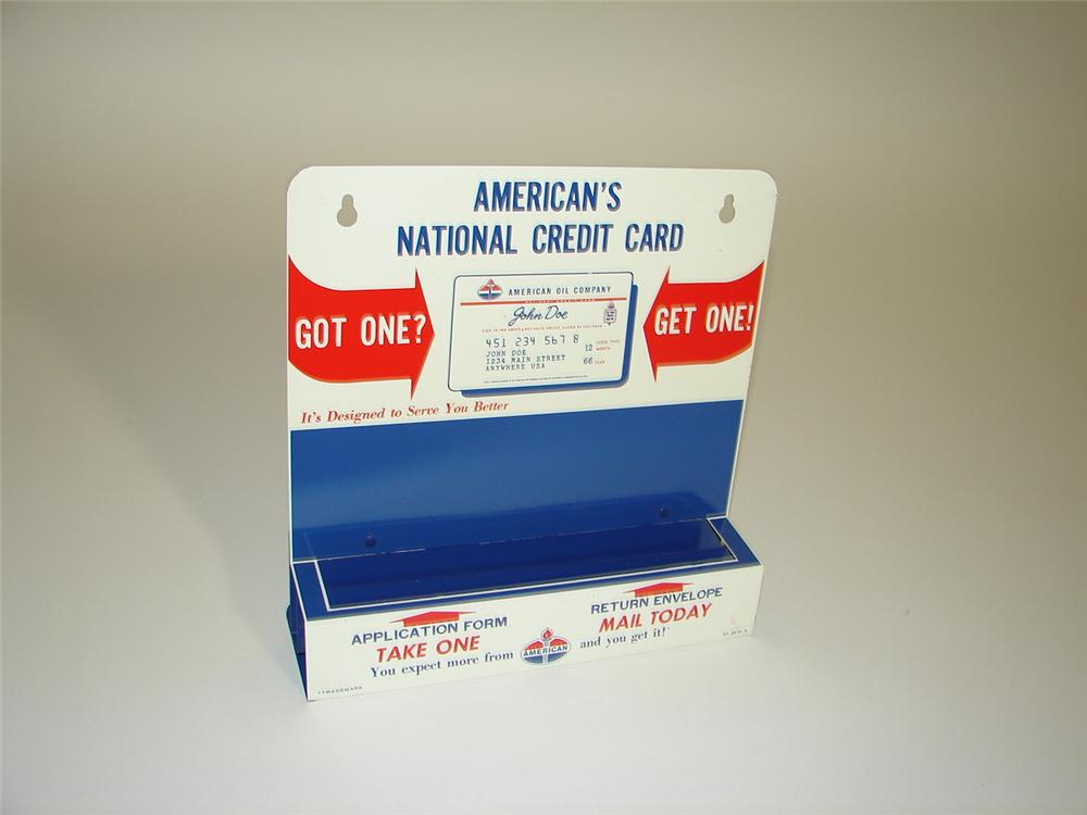 "1950s Standard Oil service station ""credit Cards"" metal counter-top display. - Front 3/4 - 117879"