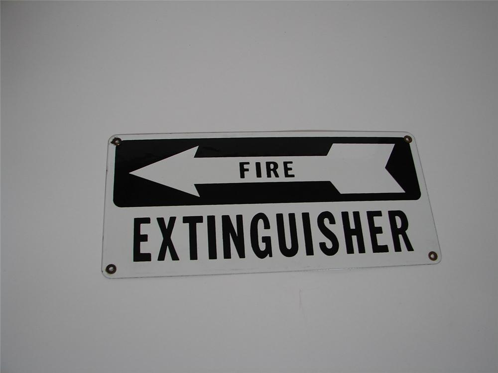 "N.O.S. 1940s-50s Automotive service department ""Fire Extinguisher"" single-sided porcelain sign. - Front 3/4 - 117885"