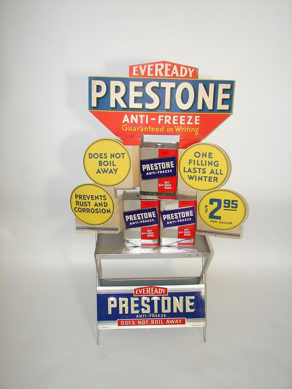 Spectacular N.O.S. 1940s Prestone Anti-Freeze automotive garage display with original unused cans and cardboard sign. - Front 3/4 - 117889