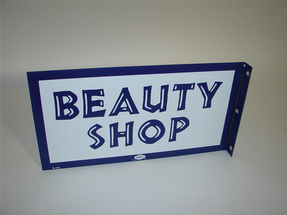 Terrific N.O.S. 1950s-60s Beauty Shop double-sided porcelain flange sign. - Front 3/4 - 117905