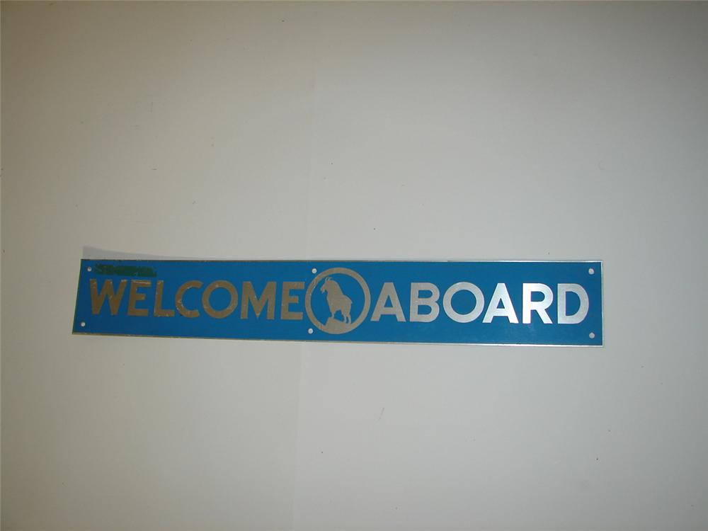 """Very neat 1950s Great Northern Rail Road """"Welcome Aboard"""" single-sided passenger car sign. - Front 3/4 - 117916"""