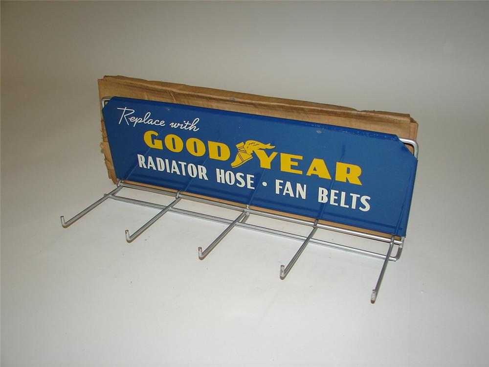 N.O.S. 1950s Goodyear Tires single-sided service department display rack still in the original box. - Front 3/4 - 117918