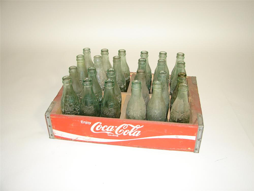 Fun 1950s Coca-Cola wooden case with 24 original embossed Coca-Cola bottles. - Front 3/4 - 117922