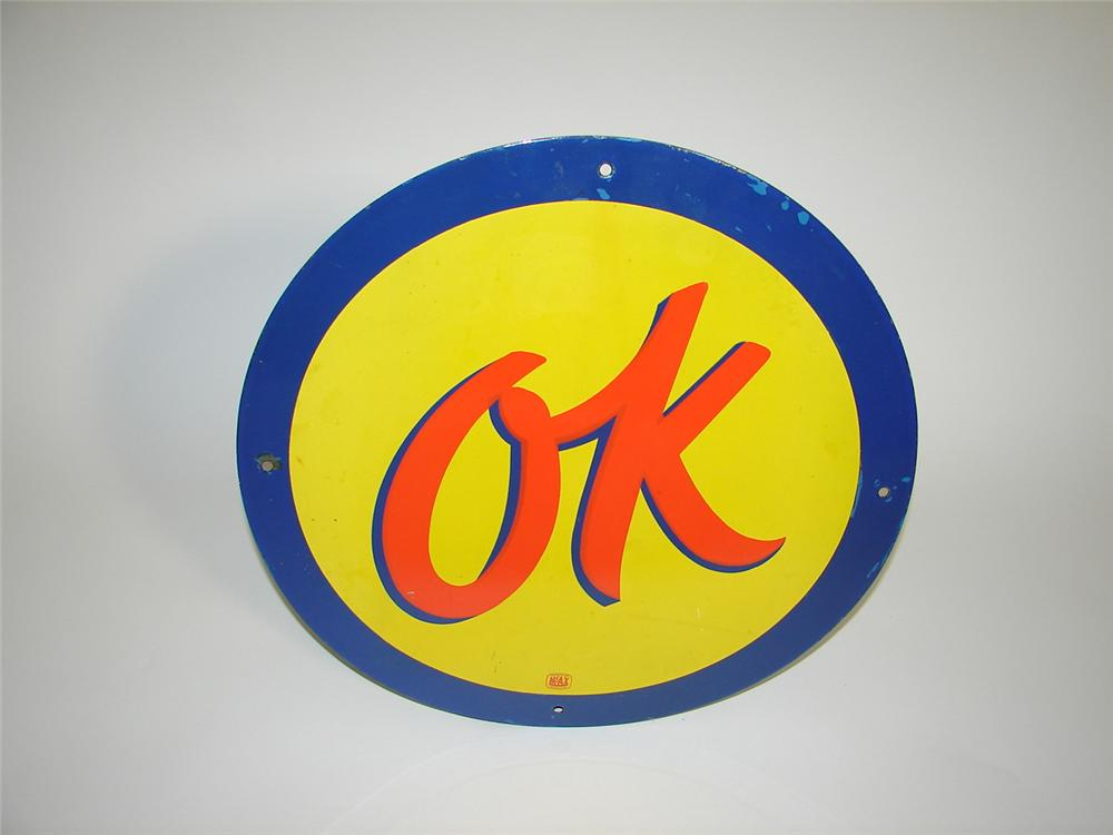 Highly desirable 1950s Chevrolet OK Used Cars single-sided porcelain dealership sign. - Front 3/4 - 117923