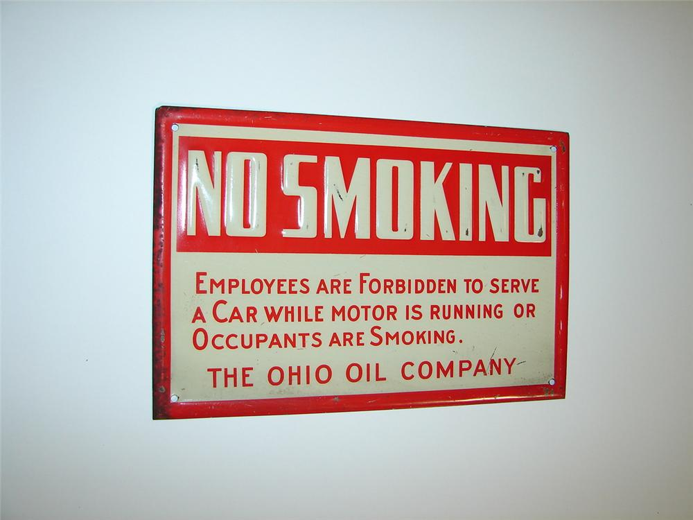 "1930s Ohio Oil Company ""No Smoking"" single-sided embossed tin garage sign. - Front 3/4 - 117924"