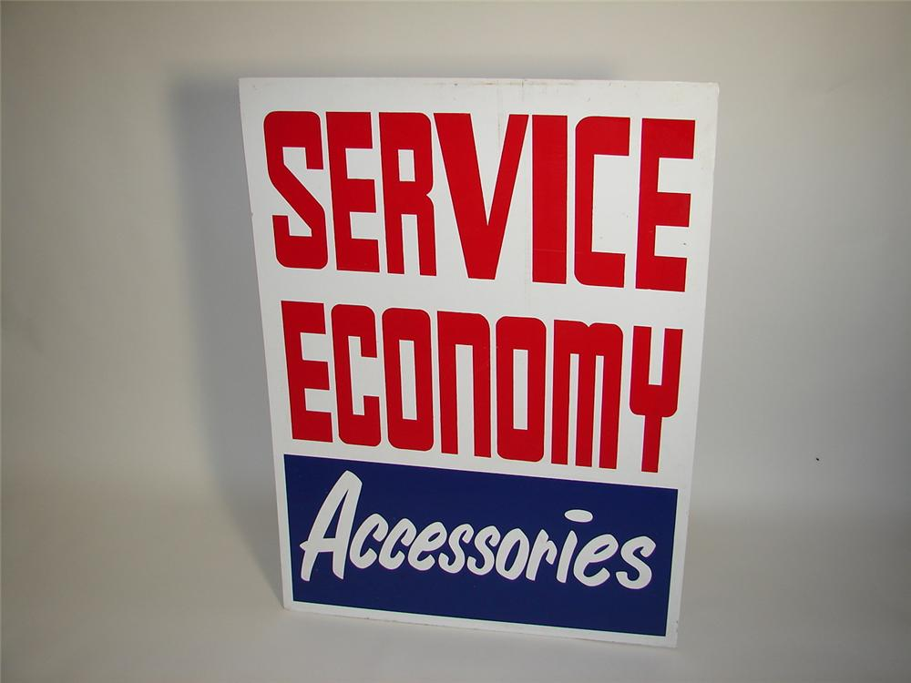 """Large 1960s automotive service garage """"Service -Economy - Accessories"""" single-sided tin sign. - Front 3/4 - 117925"""