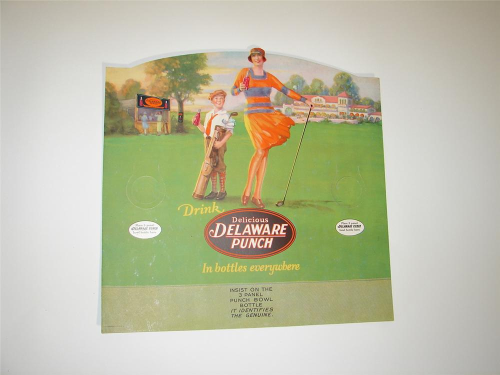 Stunning N.O.S. 1928 Delaware Punch Soda single-sided store display cardboard with spectacular period golf artwork. - Front 3/4 - 117926