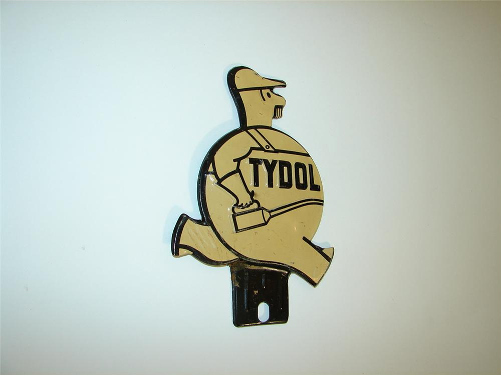 Whimsical N.O.S. 1930s Tydol Motor Oil license plate attachment sign. - Front 3/4 - 117930