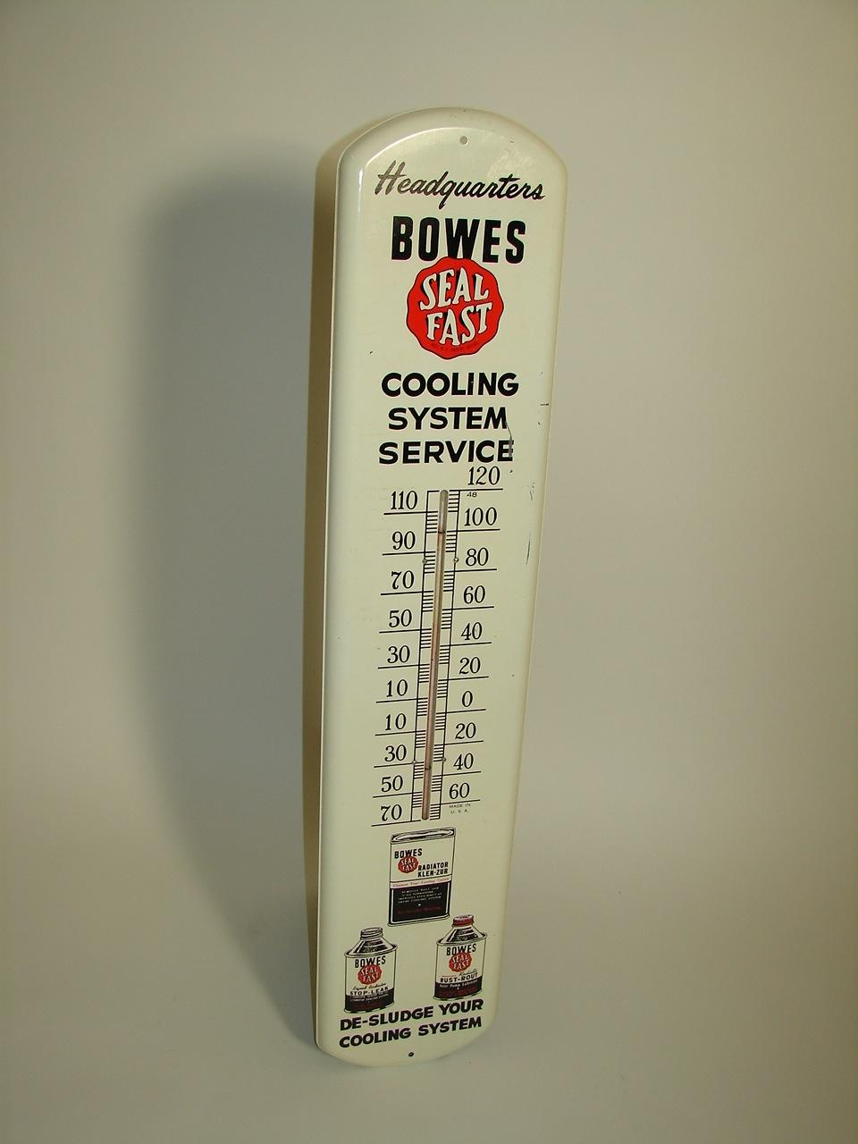 "Fantastic 1950s Bowes Seal Fast ""Cooling System Service"" over-sized tin service station thermometer. - Front 3/4 - 117931"