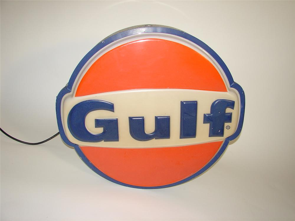 Phenomenal 1960s Gulf Oil single-sided light-up service station sign. - Front 3/4 - 117933