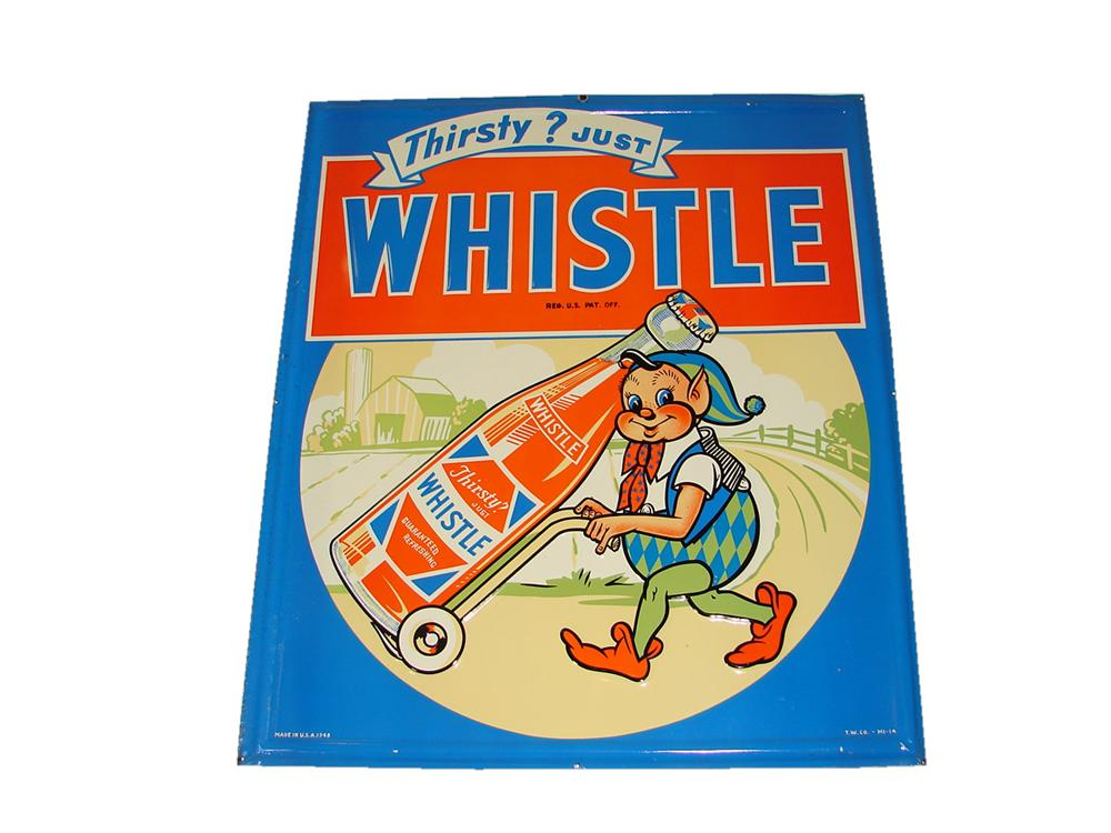 Stunning N.O.S. 1948 Whistle Orange Soda embossed tin sign with killer Elf graphic. - Front 3/4 - 117935