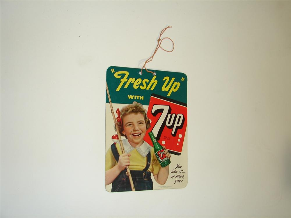 N.O.S. 1950 7-up Soda double-sided string pull with fisher girl graphics. - Front 3/4 - 117936