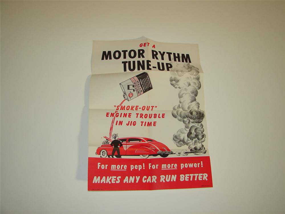 N.O.S. early 1950s Whiz Motor Rhythm Tune-up service station poster with nice graphics. - Front 3/4 - 117938