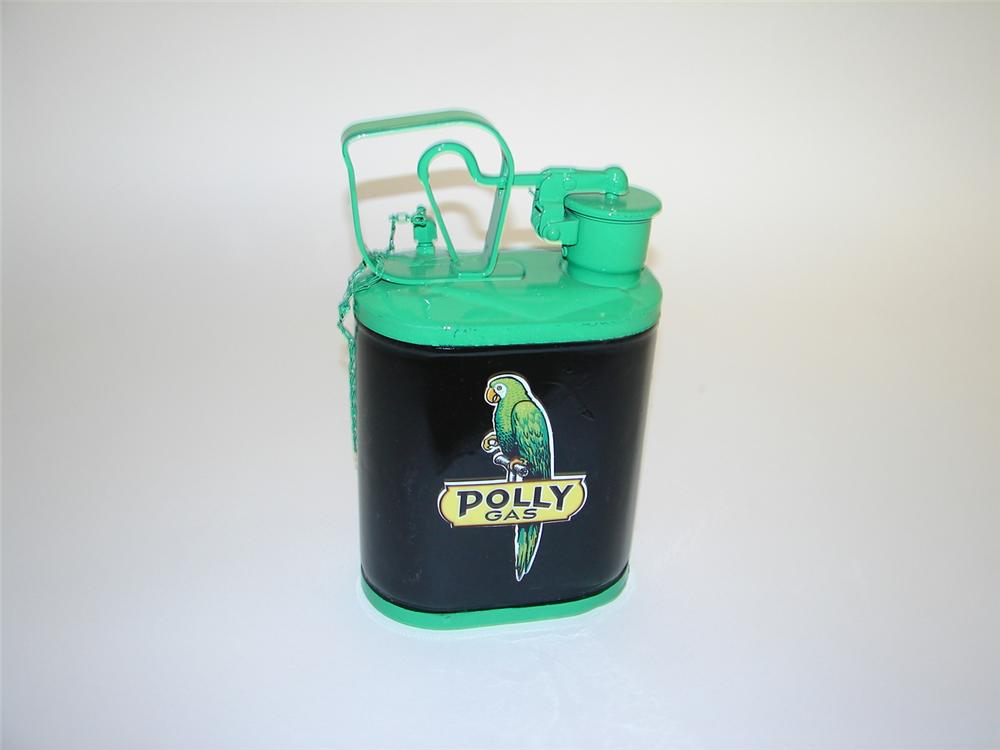 Restored 1930s Polly Gasoline one-gallon service department safety oil/fluid can. - Front 3/4 - 117941