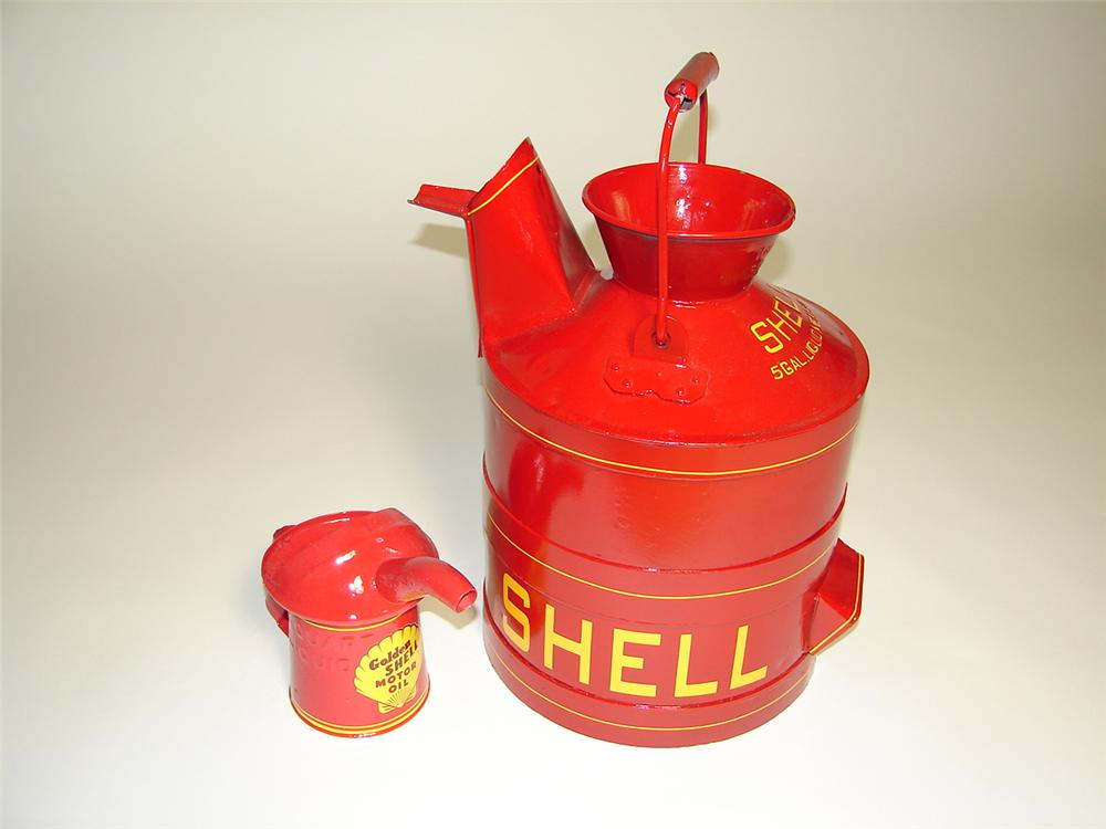 Lot of two vintage Shell Oil restored service department cans. - Front 3/4 - 117943