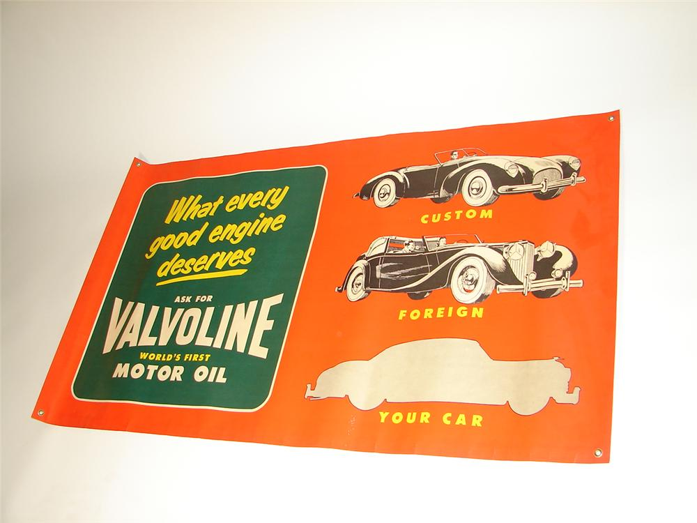 Killer N.O.S. 1950s Valvoline Motor Oil service station banner sign with killer graphics. - Front 3/4 - 117945