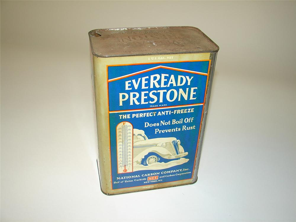 Choice 1930s Eveready Prestone one-gallon tin with choice period graphics. - Front 3/4 - 117950