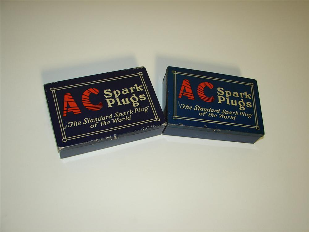 Lot of two 1930s AC Spark plugs automotive garage display tins. - Front 3/4 - 117951