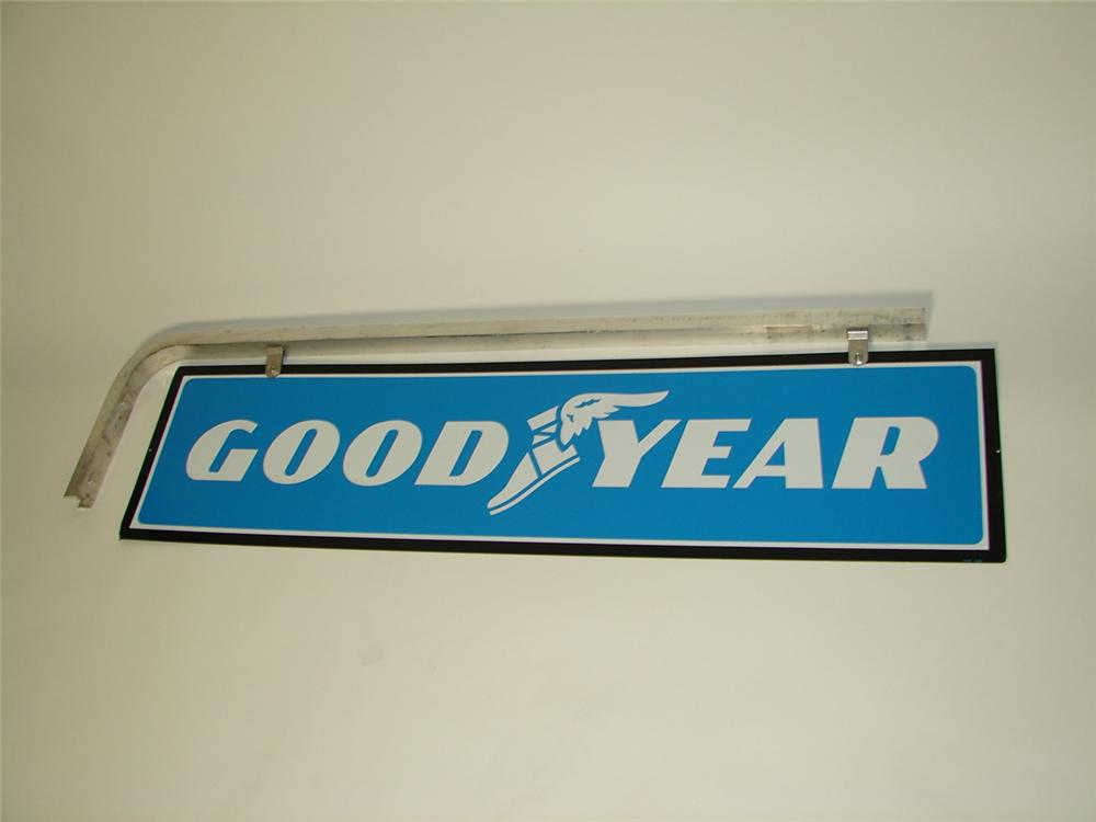 N.O.S. vintage Goodyear Tires double-sided tin garage sign with hanging bracket. - Front 3/4 - 117954