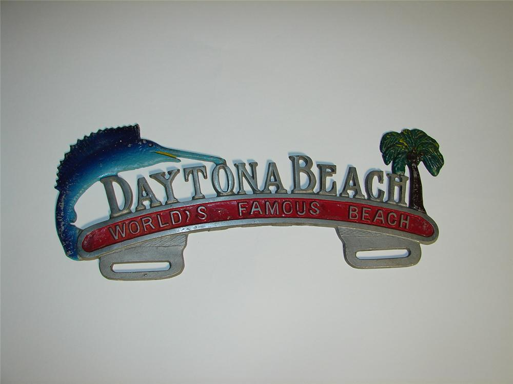 "Fun 1940s Dayton Beach ""World Famous Beach"" souvenir license plate attachment sign. - Front 3/4 - 117955"