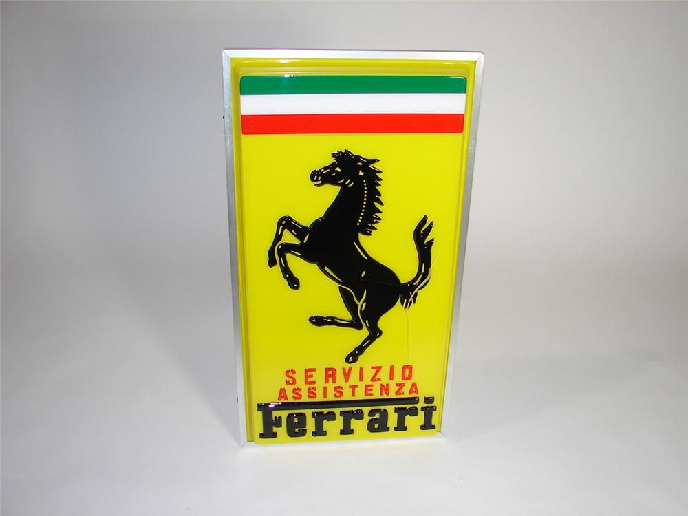 Rare Ferrari Authorized Service sign found unused but sustained damage from shipping. - Front 3/4 - 117958