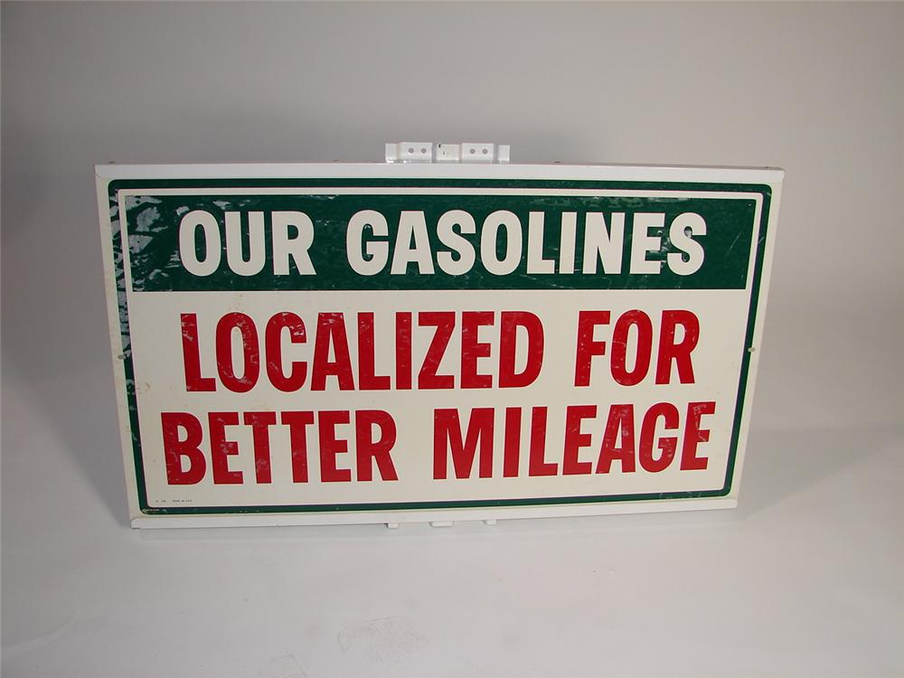 "Choice 1950s N.O.S. Texaco ""Localized Gasolines for Better Mileage"" single-sided tin garage sign. - Front 3/4 - 117959"