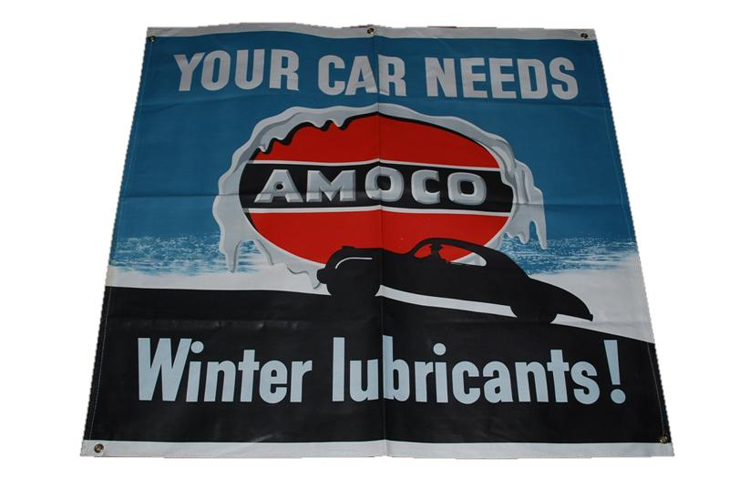 "Sharp N.O.S. Amoco Oil ""Winter Lubricants"" service station canvas banner. - Front 3/4 - 117972"