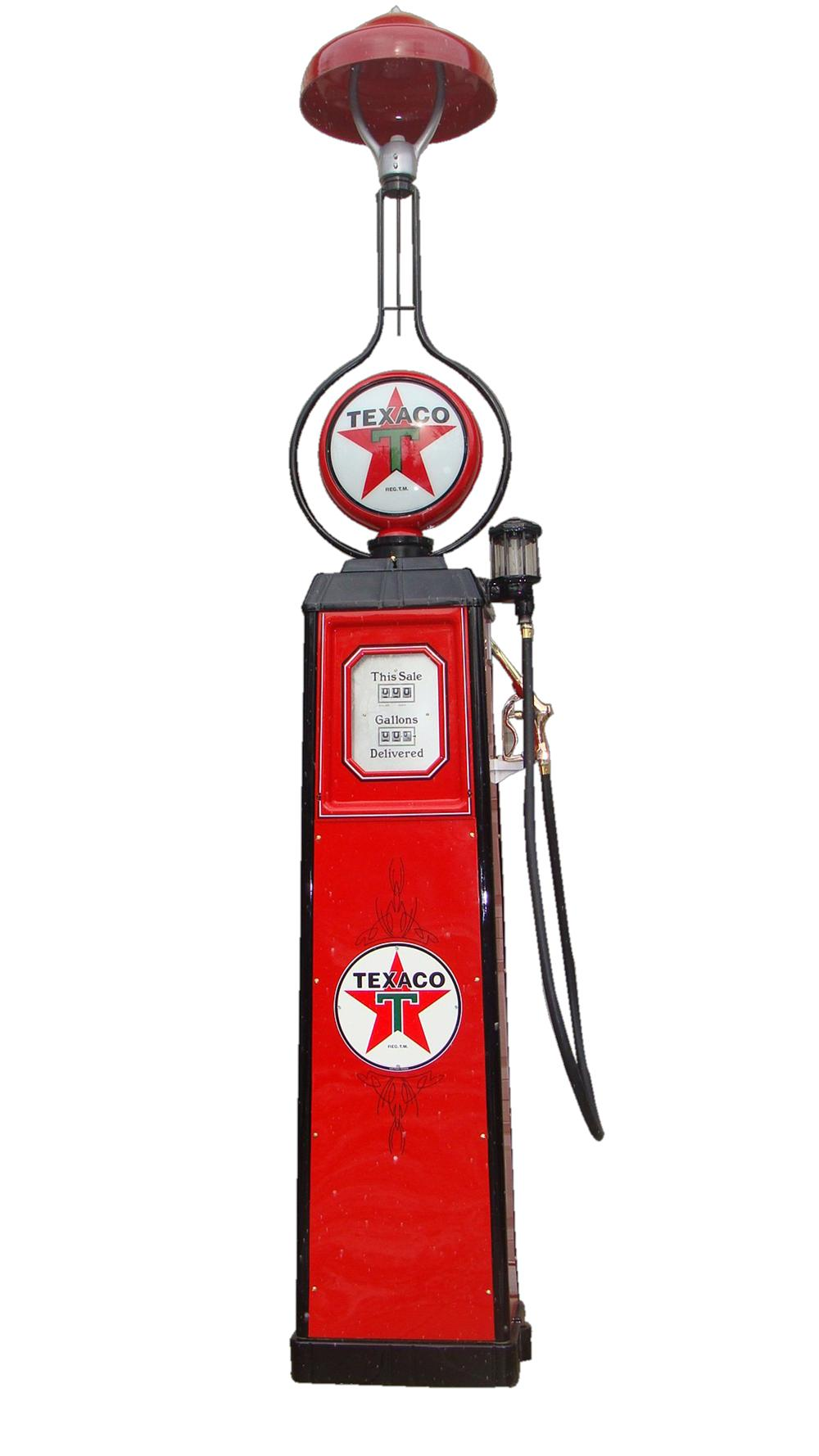 Marvelous and rare 1935 Texaco Oil service station Wayne model #40 restored gas pump with station lighter attached. - Front 3/4 - 117974