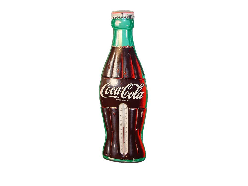 Nifty 1950s Coca-Cola die-cut tin bottle shaped over-sized tin thermometer. - Front 3/4 - 117976