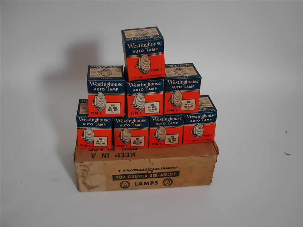 Museum quality N.O.S. counter-top display of eight vintage Westinghouse Auto Lamps still in the original boxes. - Front 3/4 - 117977