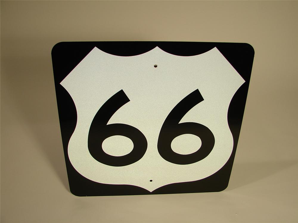 N.O.S. 1960s U.S. Route 66 Highway road sign. Found new and unused. - Front 3/4 - 117978