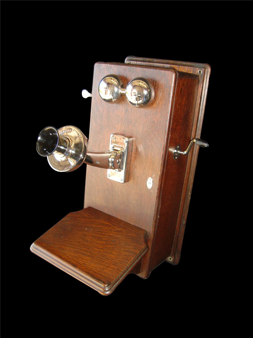 Early 1900s wood crank telephone will all chrome refurbished. - Front 3/4 - 117980