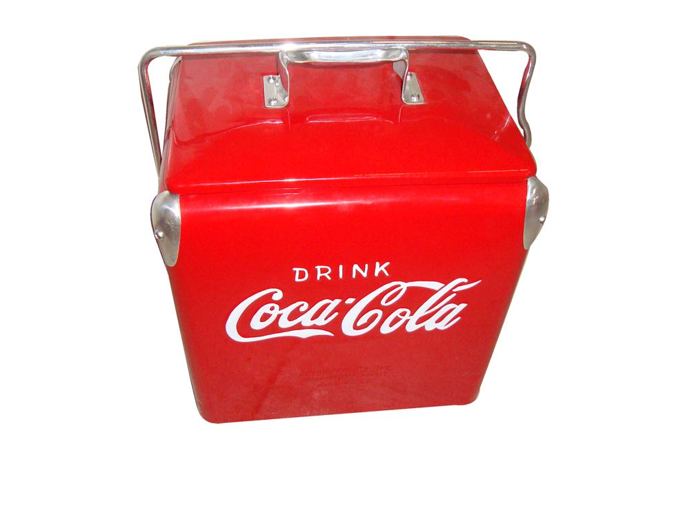 Impressive 1950s Coca-Cola picnic cooler nicely restored with original carrying handle. - Front 3/4 - 117984