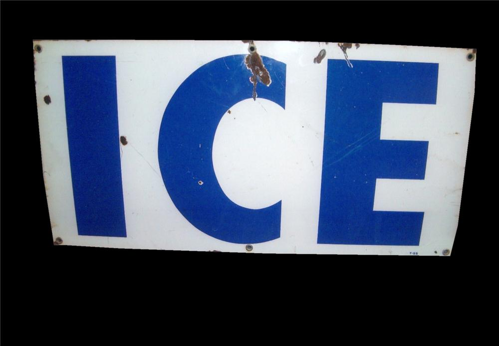 "Unusual 1950s porcelain service station ""Ice"" sign. - Front 3/4 - 117987"