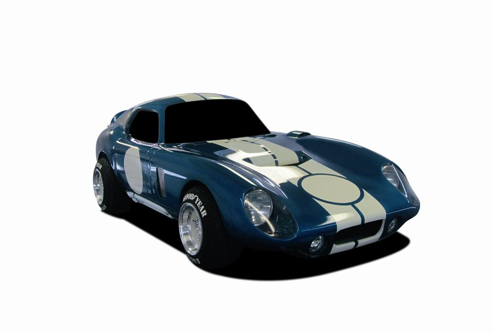 One-of-a-kind, custom, hand built, 3/4 scale Cobra Daytona Coupe tribute miniature race car by McLaren Classic Restorations. - Front 3/4 - 117994