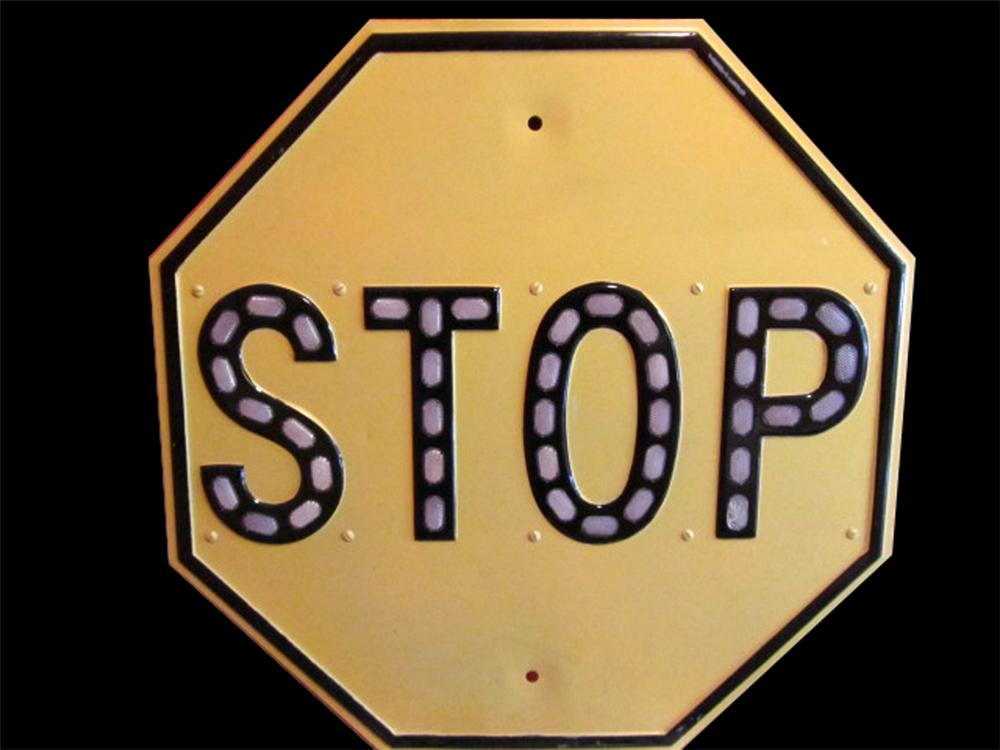 """Early 1930s cast metal authentic highway stop sign with glass """"Cat-Eye"""" reflectors. - Front 3/4 - 117996"""