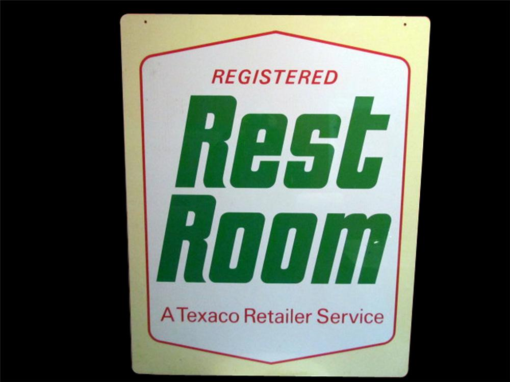 Very clean 1960s Texaco Registered Rest Rooms double-sided tin service station sign. - Front 3/4 - 117997