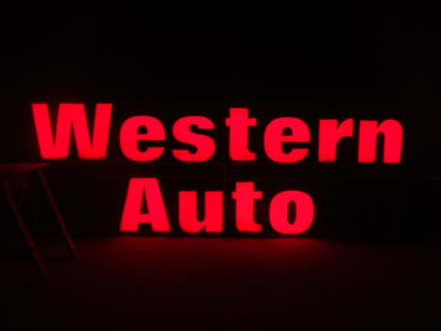 Large Western Auto single-sided lighted up store sign. - Front 3/4 - 118010