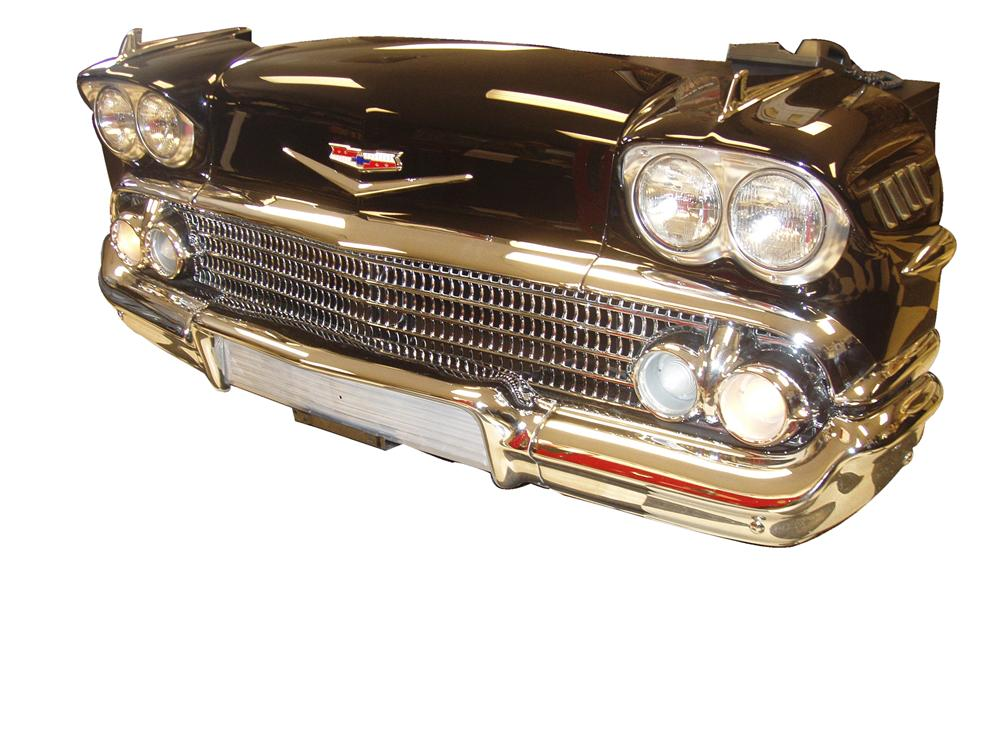 Incredible 1958 Chevrolet Impala front-end custom built desk presented black on black. Fantastic with working lights and re-... - Front 3/4 - 120494