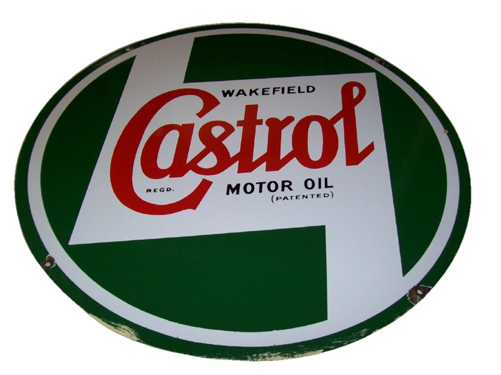 Extraordinary 1950s-60s Castrol-Wakefield Motor Oil single-sided porcelain garage sign. - Front 3/4 - 120497
