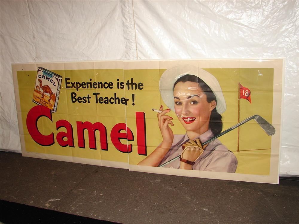 Addendum Item - Large N.O.S. 1947 Camel Cigarettes two pieces poster with outstanding golf graphics. - Front 3/4 - 120653
