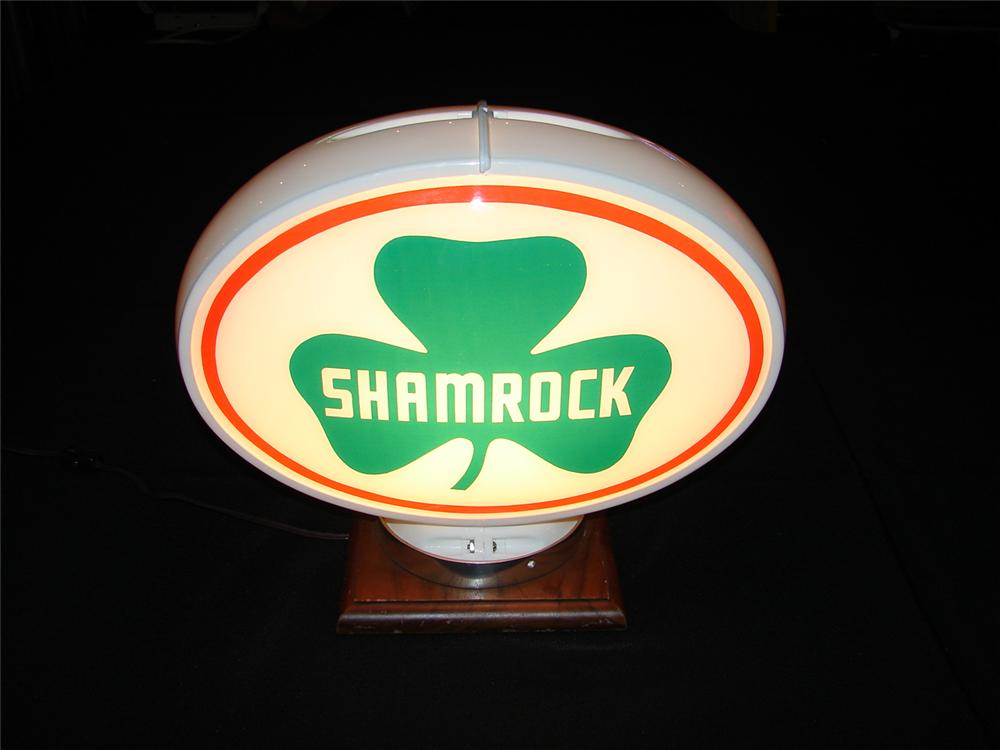 Magnificent 1950s oval shaped Shamrock Gasoline glass lensed gas pump globe. - Front 3/4 - 120657