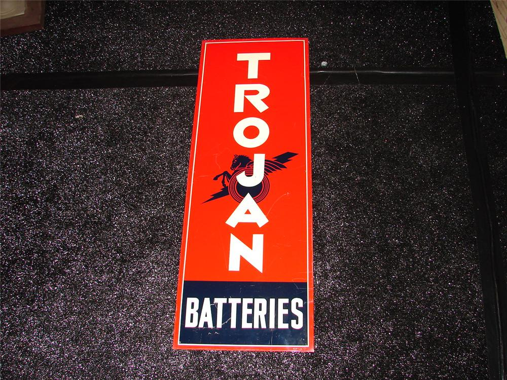 Choice 1940s Trojan Batteries vertical tin garage sign with nice graphic logo. - Front 3/4 - 120667